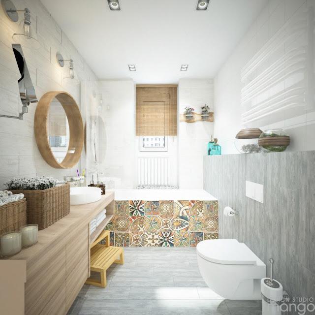 Banheiro com piso hidráulico. Blog Achados de Decoração