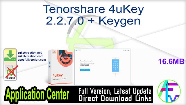 Tenorshare 4uKey 2.2.7.0 + Keygen