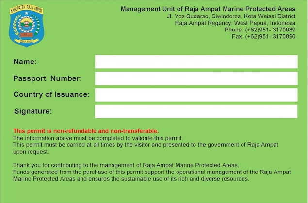 Entry card for Raja Ampat
