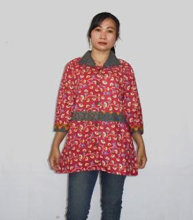 Blus batik lengan 3/4 Pink