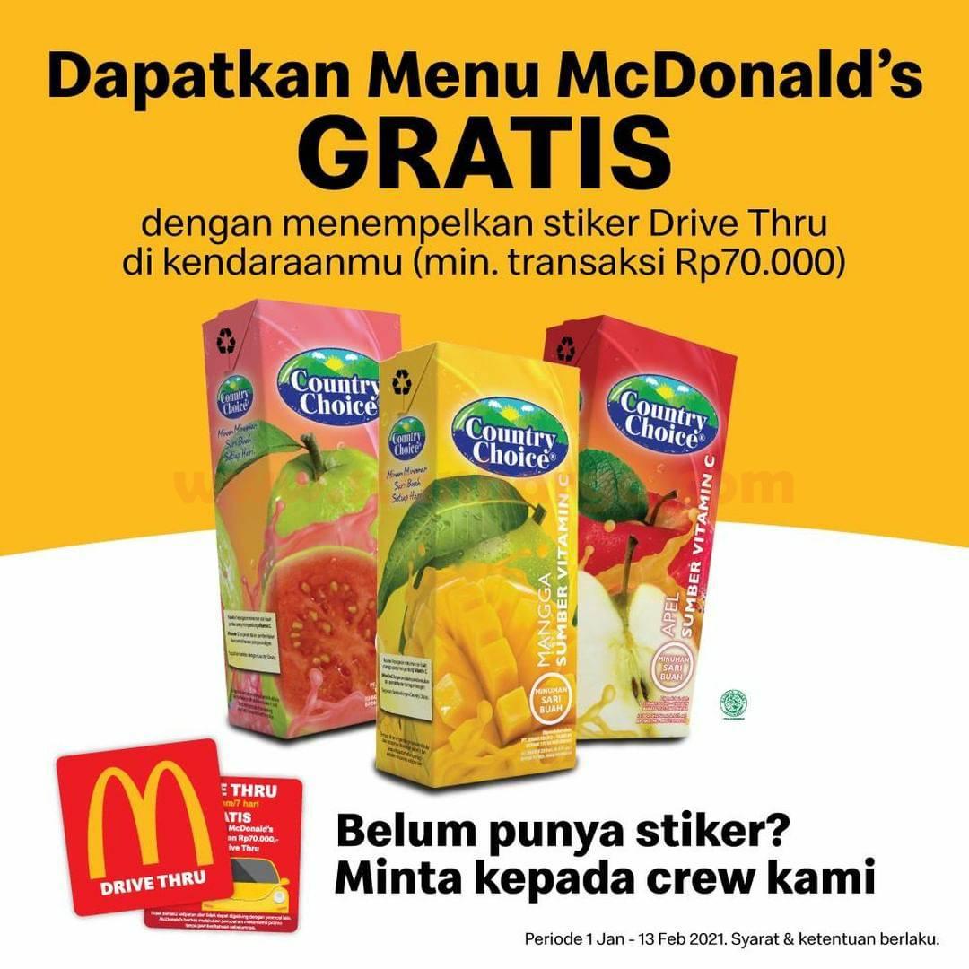 Promo McDonalds GRATIS Country Choice untuk pemilik Stiker Drive Thru