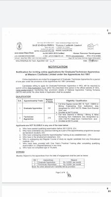 Wcl apprentice recruitment 2021 For Graduate & Technician In Mining