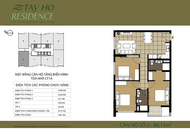 Mặt bằng căn hộ Lake View 1A-Chung cư Tây Hồ Residence