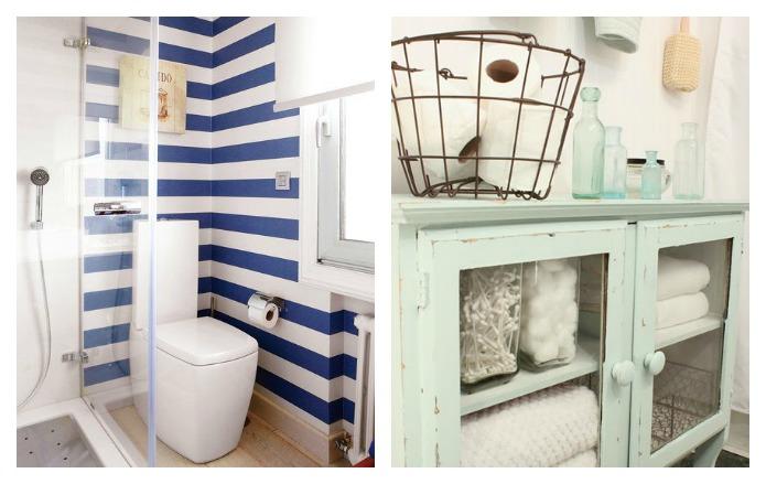 baño con papel pintado o con muebles reciclados