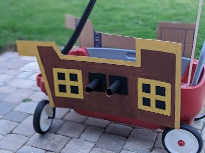diy pirate ship wagon using a cardboard box
