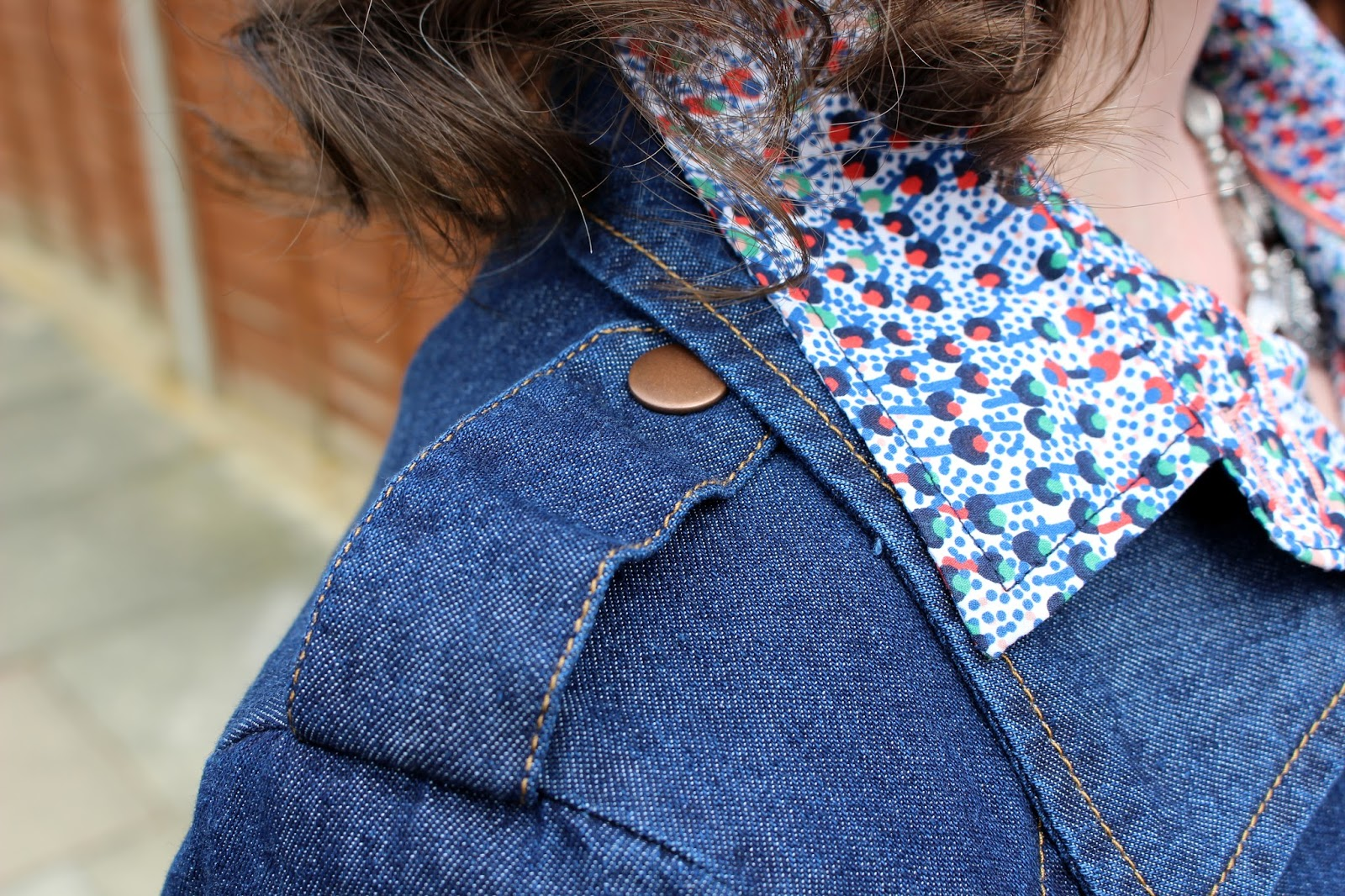 Epaulette of Petite Denim Trench Coat | Shirt Collar | Petite Silver Vixen