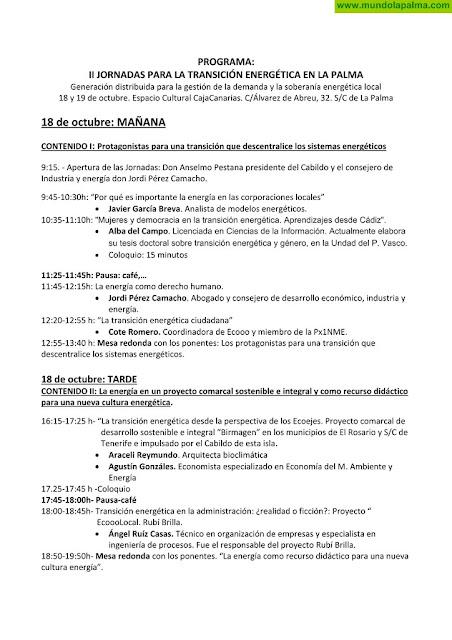 Programa II Jornadas para la transición energética en La Palma