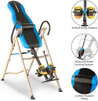 Exerpeutic 225SL Inversion Table, features compared with Exerpeutic 275SL, main difference being standard lumbar support or heat/massage lumbar support on 275SL