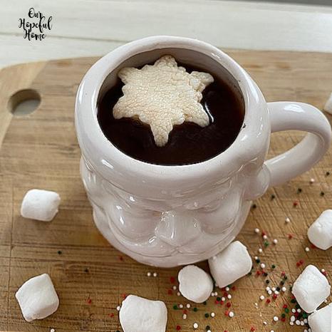white Santa hot cocoa mug snowflake topper