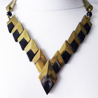 Gold and black bone V shaped necklace modern
