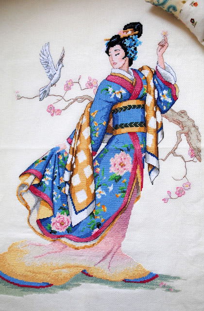 Dimensions Gold Elegance of the Orient Cross Stitch Work in Progress Oriental lady kimono WIP