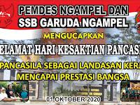 Ucapan hari kesaktian Pancasila 01 Oktober 2020 dari pemerintah desa Ngampel dan SSB Garuda Ngampel
