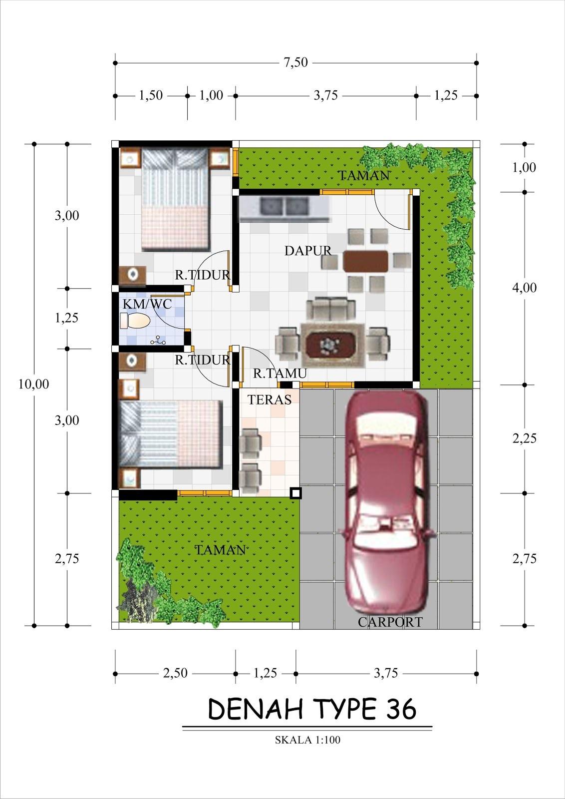 contoh gambar denah rumah minimalis type 36 1