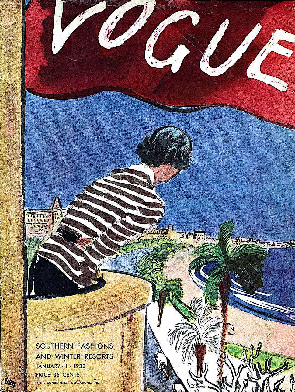 1932 Vogue Magazine cover, a woman looking from her balcony on the Riviera