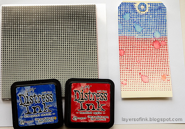 Layers of ink - Red and Blue Tag Tutorial by Anna-Karin Evaldsson. With Simon Says Stamp Halftone Background.
