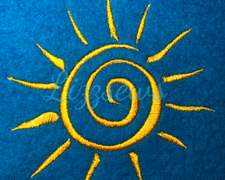 Whimsical sun embroidery design from lizzsews facebook group stitched out