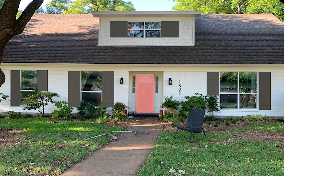 cottage charm by adding shutters sherwin williams 'urbrane bronze' and 'lei flower' door