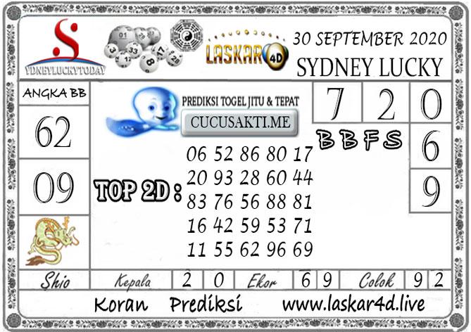 Prediksi Sydney Lucky Today LASKAR4D 30 SEPTEMBER 2020