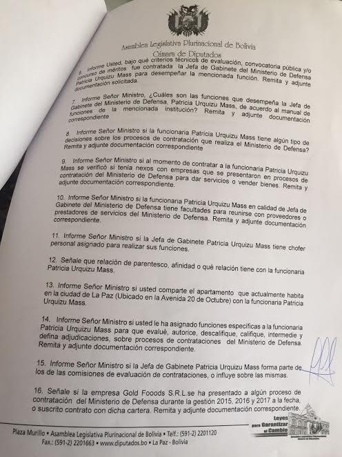 Parte de la PIE de la oposición sobre la joven funcionaria que ingresó al despacho de Defensa en mayo
