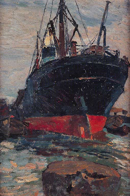 Vapore nel porto, Steamship in port by Mario Puccini, 1915