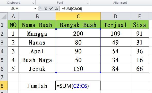 Rumus Penjumlahan, Pengurangan, Perkalian dan Pembagian di Excel
