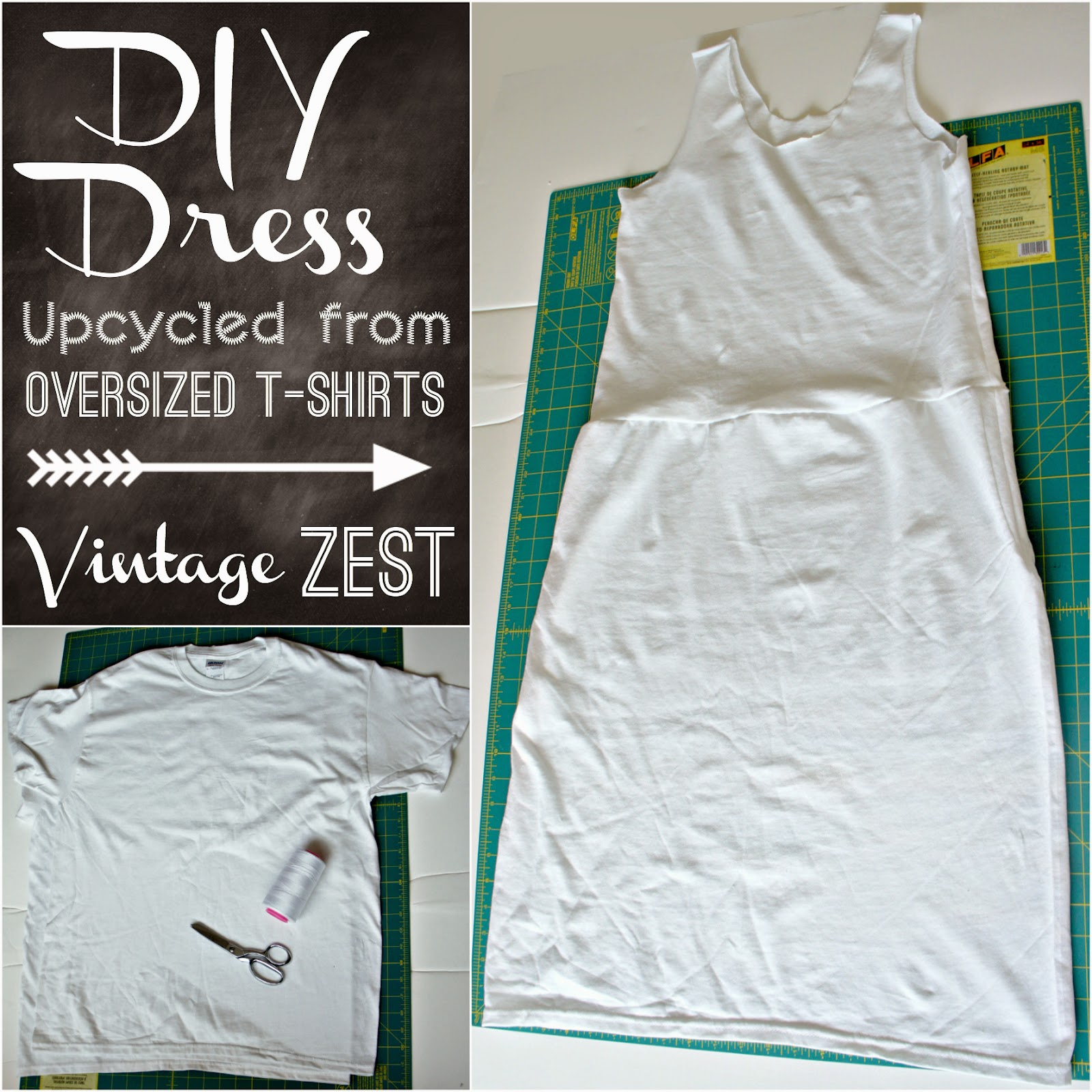 How to: DIY a Dress Upcycled from Oversized T-shirts ...