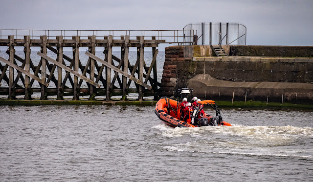 Photo of Maryport Inshore Rescue boat heading out onto the Solway Firth for a training session
