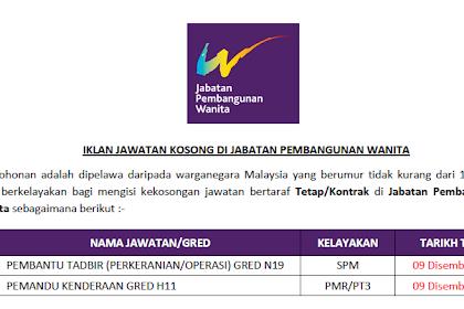 Jawatan Kosong Kerajaan di Jabatan Pembangunan Wanita | Tarikh Tutup: 09 Disember 2019