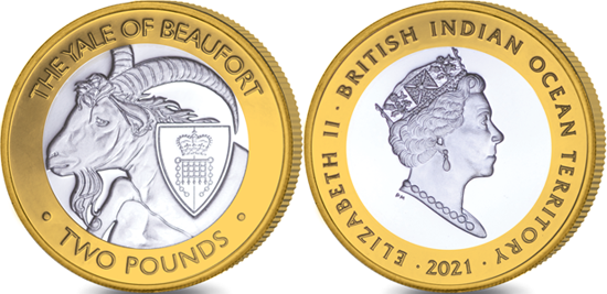 British Indian Ocean Territory 2 pounds 2021 - The Queen's Beasts - The Yale of Beaufort