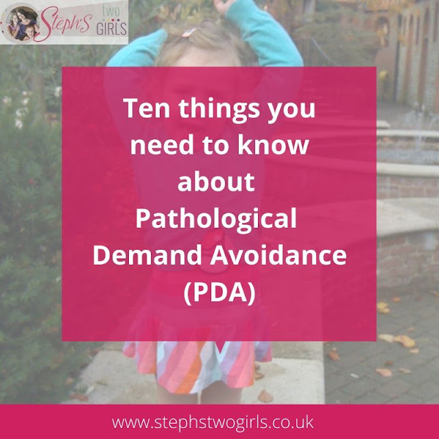 faded image of toddler with arms up and text reading ten things you need to know about pathological demand avoidance