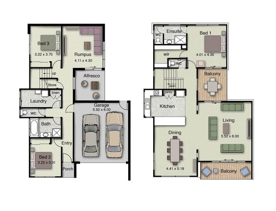 Duplex small house floor plans with 3 or 4 bedrooms for Inverted house plans