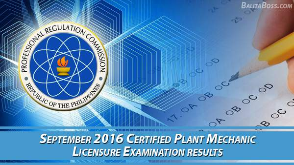 Certified Plant Mechanic September 2016 Board Exam Results