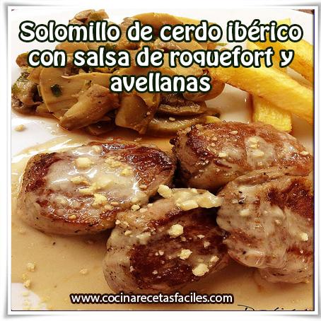 Recetas de carnes,  receta de solomillo de cerdo  con salsa  roquefort y avellanas