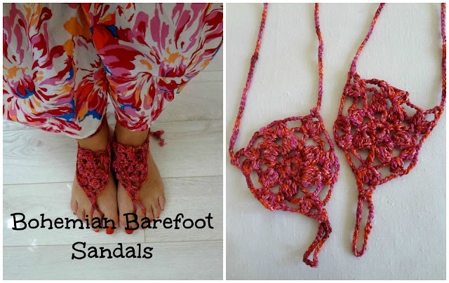 crocheted beach sandals