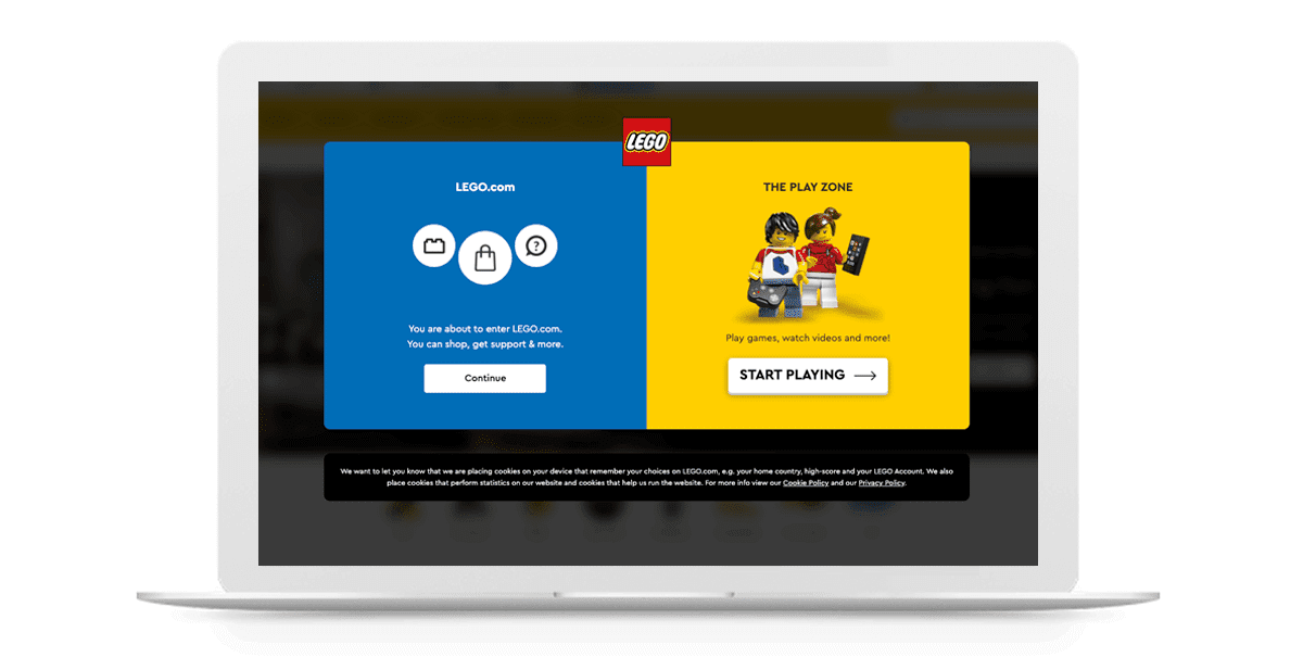 LEGO's website personas-driven splash page