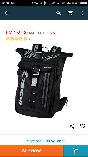 beg kalis air, waterproof backpack, 5 barang yang wajib dibeli di lazada, beg untuk rider, taichi waterproof backpack with led,