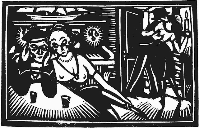 a 1922 Netherlands wood cut of a waterfront tavern with sailor and sex worker