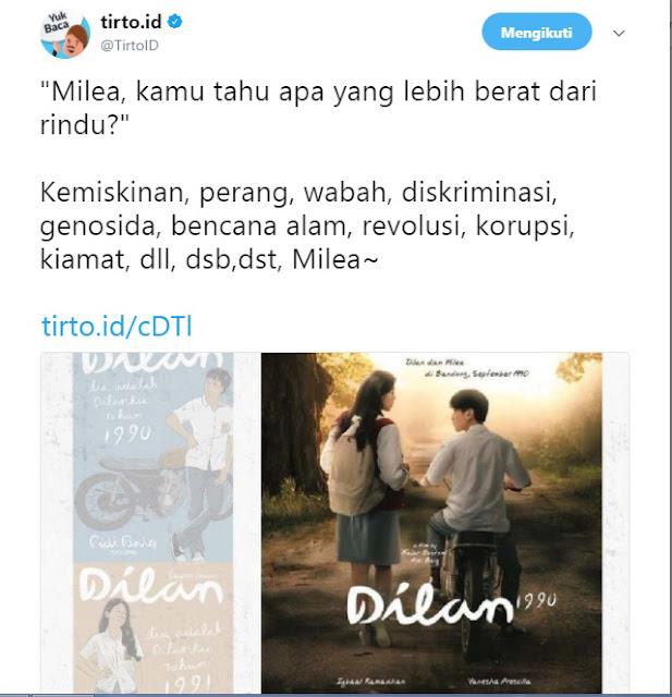 Pesan lain untuk Melia dari Dilan menurut Tirto