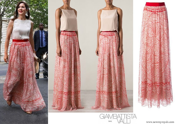 Crown Princess Mary wore Giambattista Valli Red Floral Print Skirt