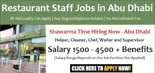 Grill Cook, Casher, Order Taker, Supervisor, Salad Maker Job Recruitment For Newly Opening Restaurant Branch in Khalifa City A, Abu Dhabi