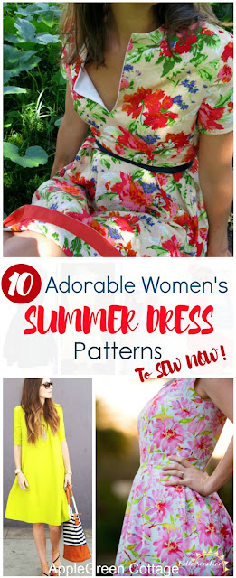 10 Gorgeous summer women's DRESS PATTERNS to sew this summer. These dress patterns and tutorials are all home sewing projects and most of them include a free pattern. Check them out!