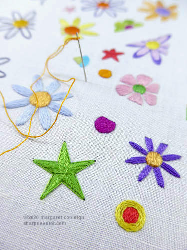 Embroidered flowers, stars, other shapes from surface embroidery proejct Floradelic '67