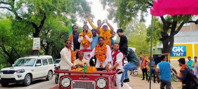 भाजपा युवा मोर्चा के नवनियुक्त जिलाध्यक्ष का प्रथम नगर आगमन पर कार्यकर्ताओं ने किया गर्मजोशी से स्वागत