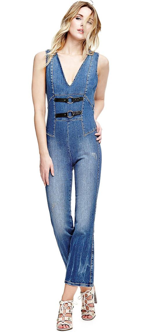 Combinaison pantalon femme jean bleu Guess