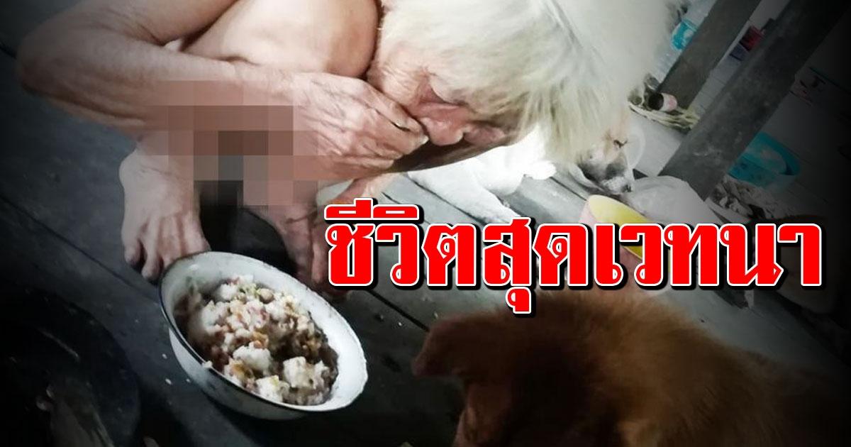 แม่เฒ่าวัย 78 อาศัยในบ้านผุพัง ไร้ญาติพี่น้อง แบ่งข้าวกับหมากินประทังชีวิต