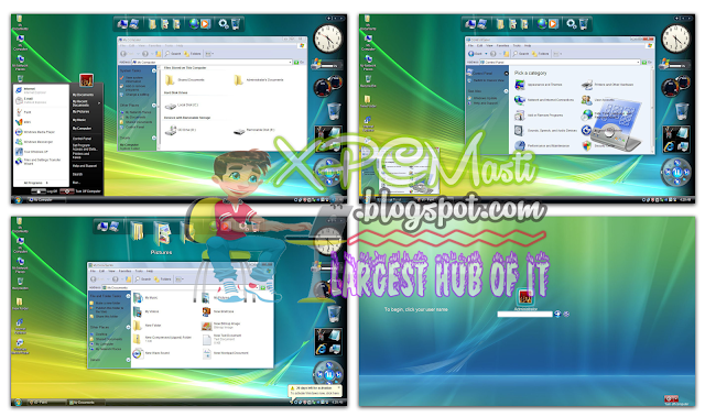 Free Download Windows Vista Skin Pack for Winodws XP at XPCMasti.blogspot.com