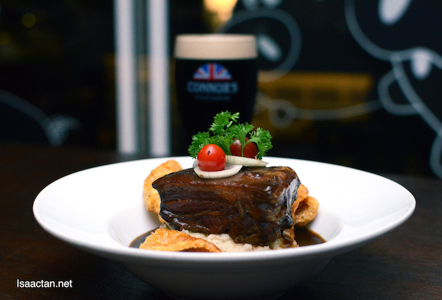 Slow Cooked Pork Belly Marinated in CONNOR'S & Spices - RM38++ with 1 full pint of CONNOR'S Stout Porter