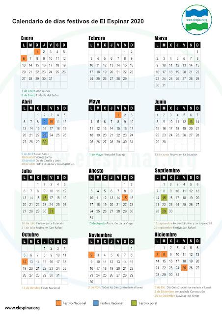 Calendario de días festivos El Espinar 2020, calendario laboral