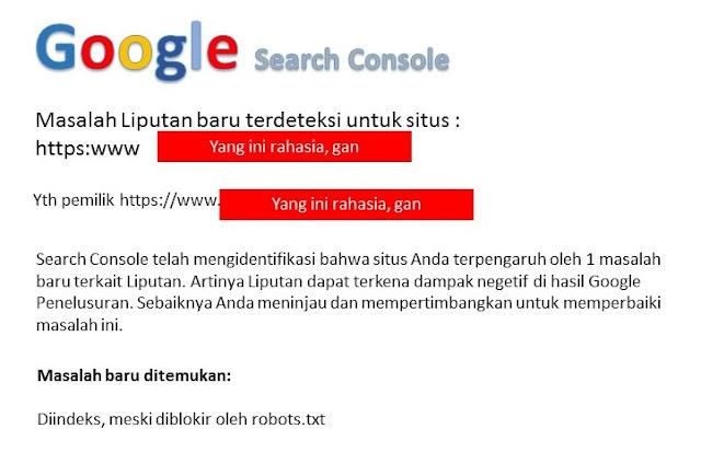 Notifikasi gmail perihal pemblokiran oleh robot.txt