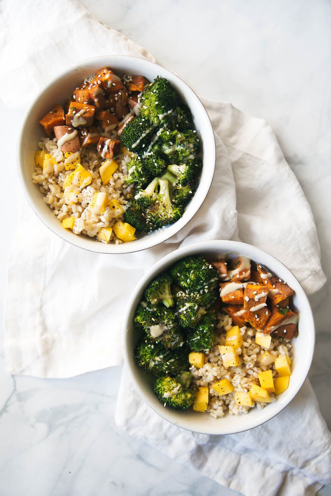 Vegan Sweet Potato Buddha Bowls with Almond Butter Dressing #vegan #potato #vegetables #breakfast #food